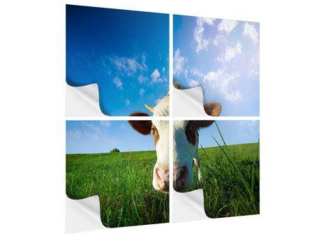 Klebeposter 4-teilig Die Kuh