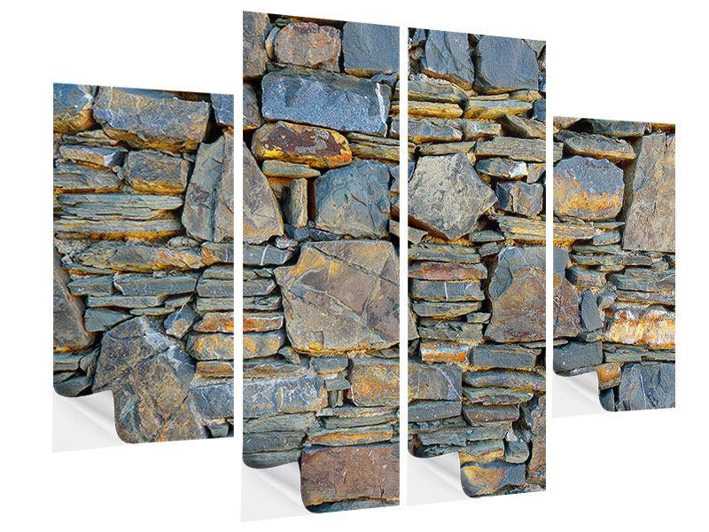 Klebeposter 4-teilig Natürliche Steinmauer