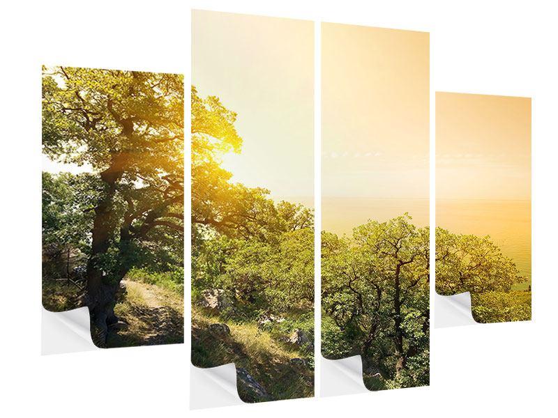 Klebeposter 4-teilig Sonnenuntergang in der Natur