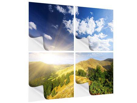 Klebeposter 4-teilig Sonnenaufgang im Gebirge