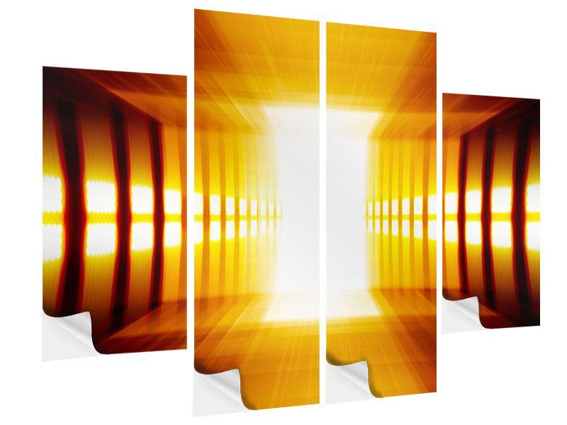 Klebeposter 4-teilig Abstrakter Goldener Raum