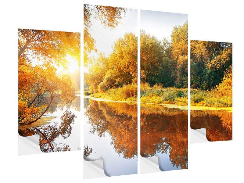 Klebeposter 4-teilig Waldspiegelung im Wasser