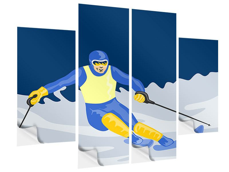Klebeposter 4-teilig Skifahrer im Retrostyle
