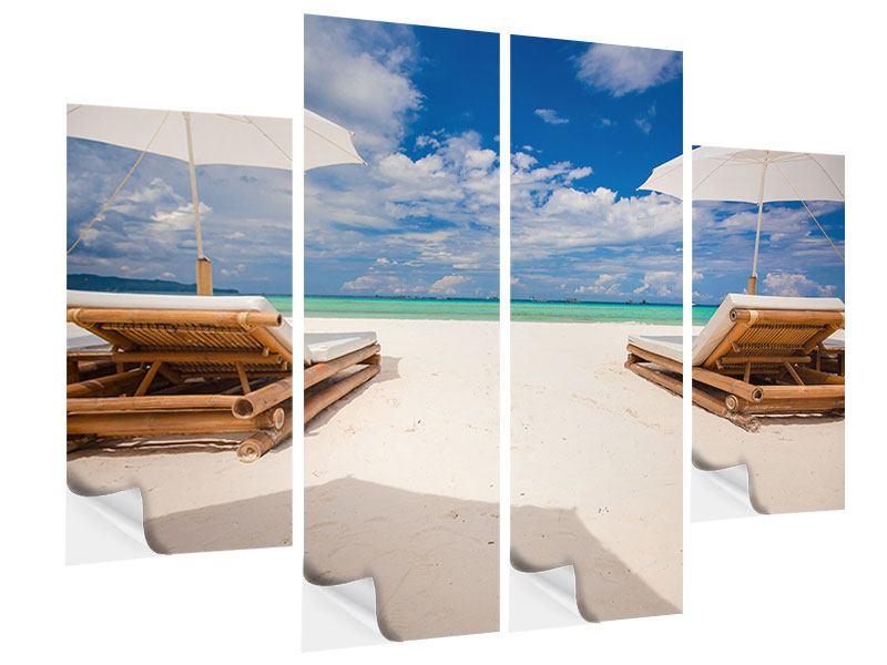 Klebeposter 4-teilig Liegen am Strand