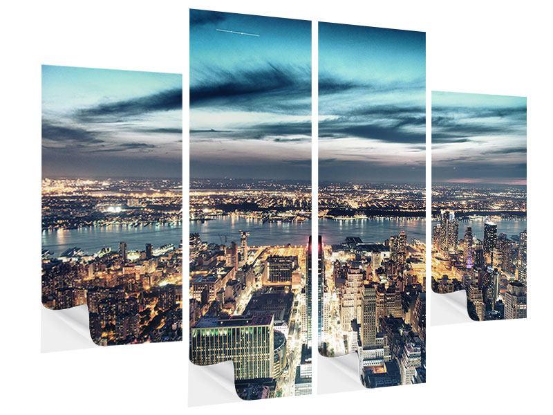 Klebeposter 4-teilig Skyline Manhattan Citylights