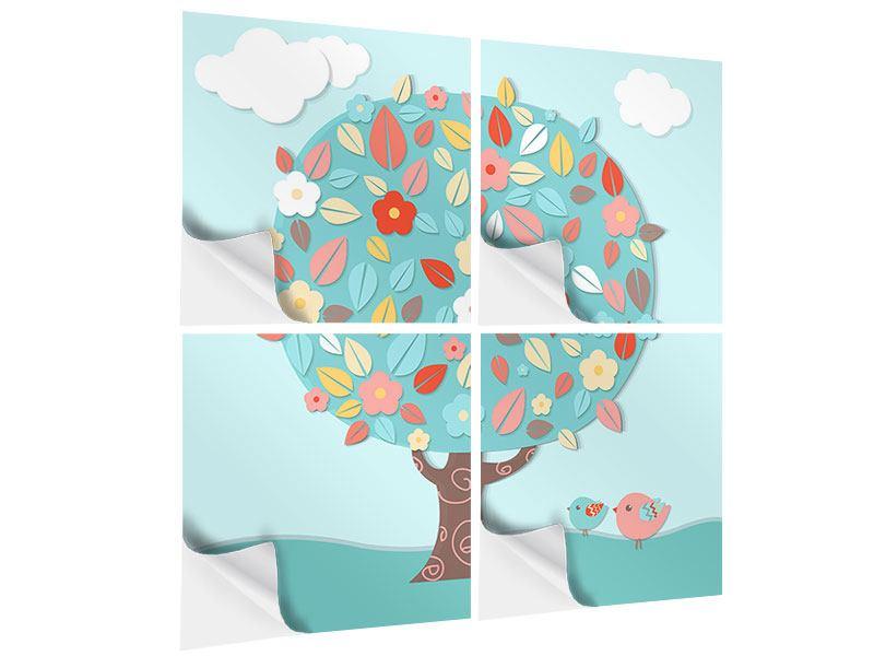 Klebeposter 4-teilig Der Kinderzimmer Baum