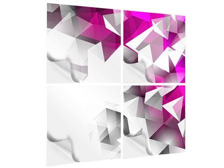 Klebeposter 4-teilig 3D-Kristalle Pink
