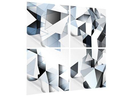 Klebeposter 4-teilig 3D-Kristalle