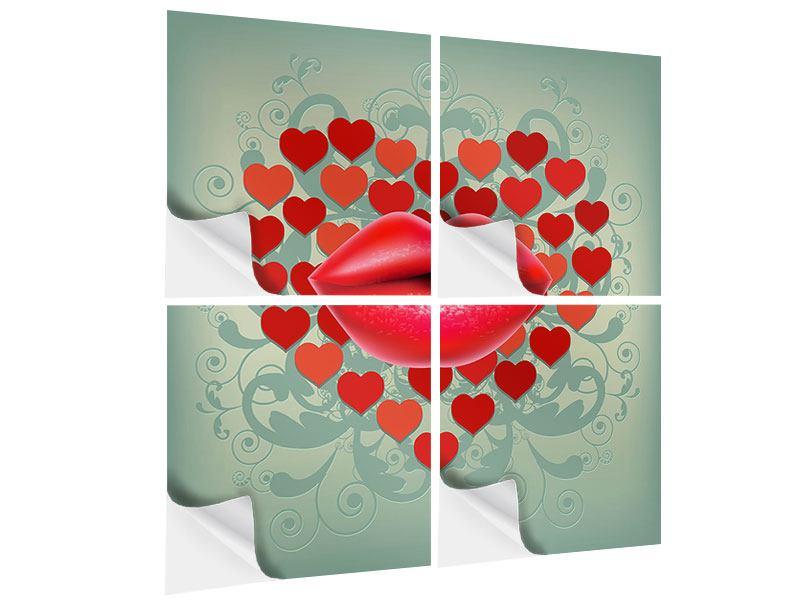 Klebeposter 4-teilig Rote Lippen soll man küssen