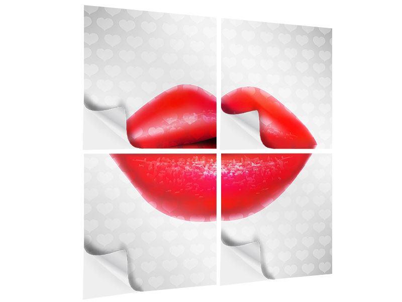 Klebeposter 4-teilig Kuss