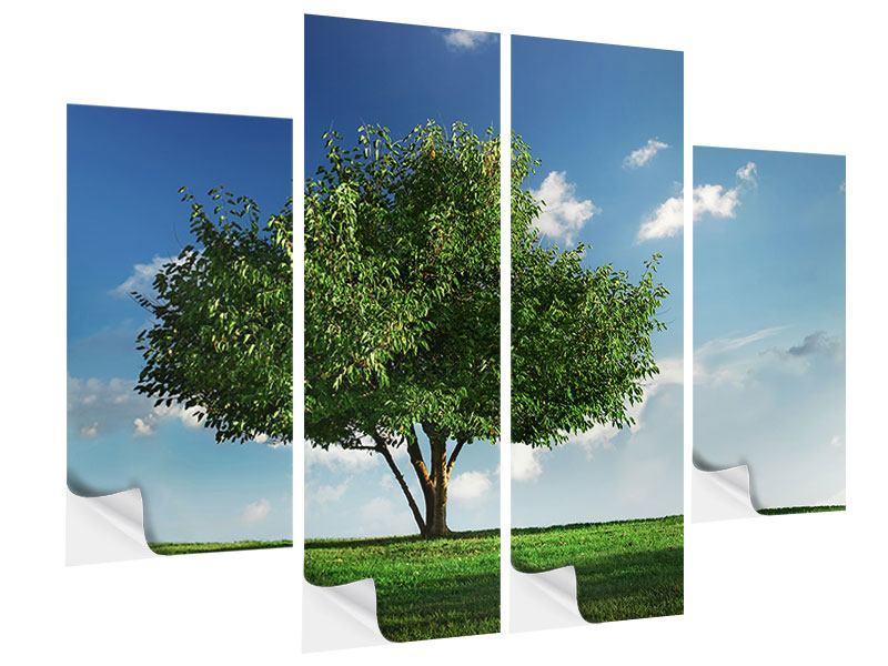 Klebeposter 4-teilig Baum im Grün