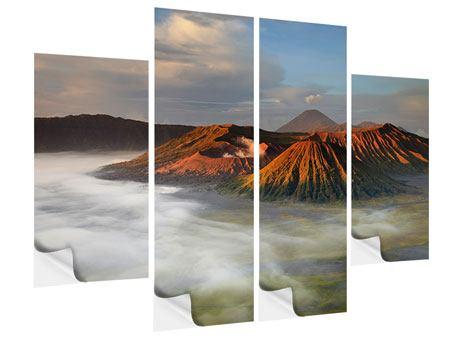 Klebeposter 4-teilig Der Bromo Vulkan