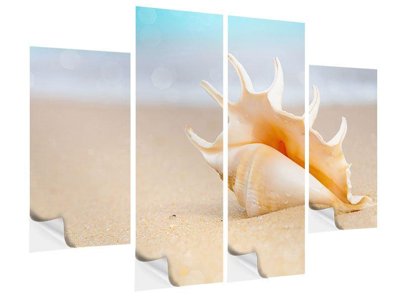 Klebeposter 4-teilig Die Muschel am Strand