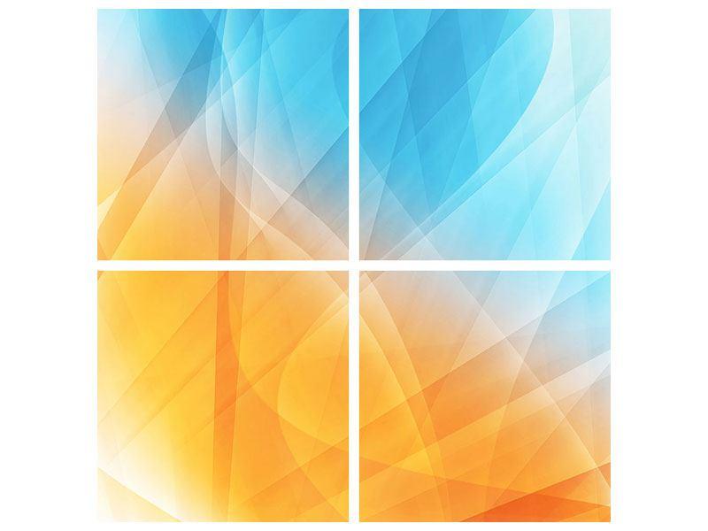 Klebeposter 4-teilig Abstrakte Fliessende Farben