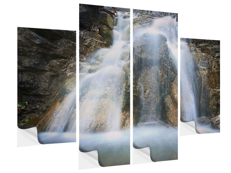 Klebeposter 4-teilig Imposanter Wasserfall