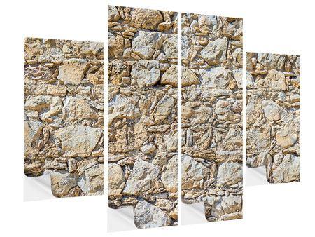 Klebeposter 4-teilig Sandsteinmauer