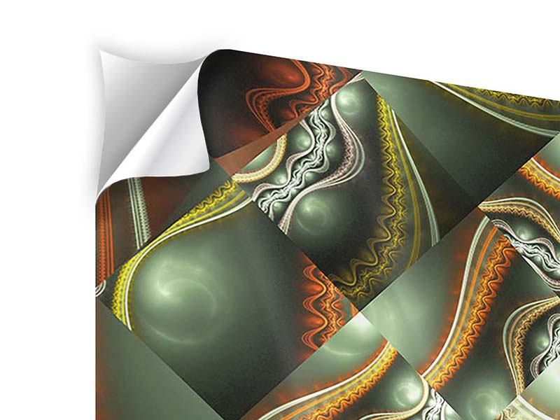Klebeposter 4-teilig Fraktales Bild