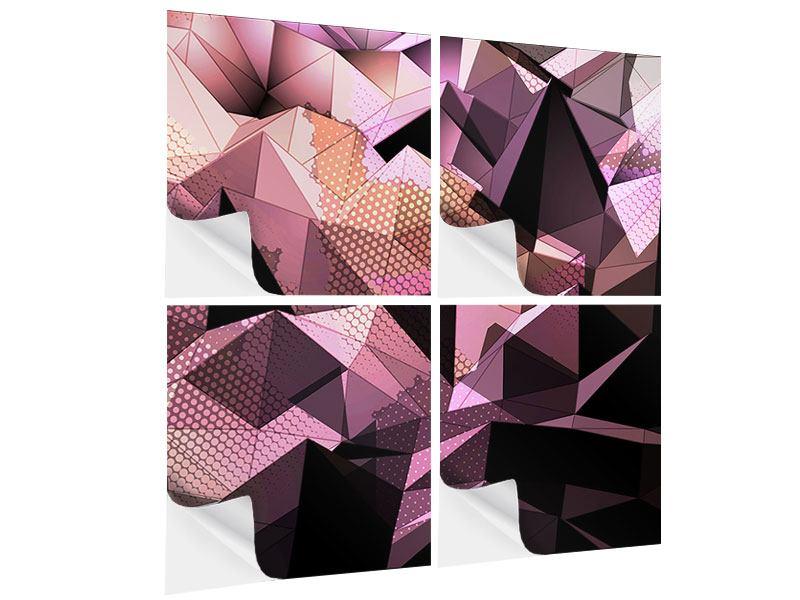Klebeposter 4-teilig 3D-Kristallstruktur