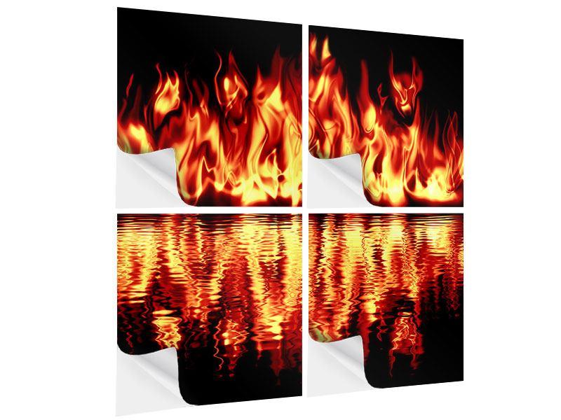 Klebeposter 4-teilig Feuerwasser