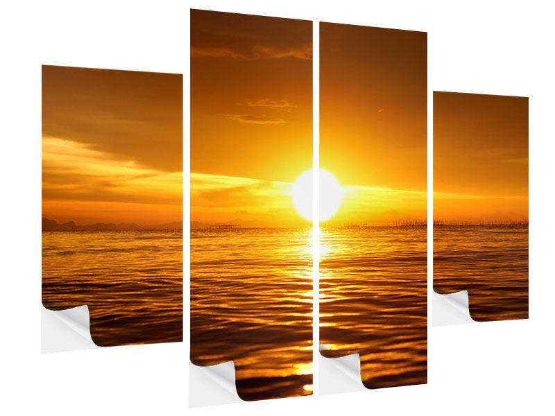 Klebeposter 4-teilig Glühender Sonnenuntergang am Wasser