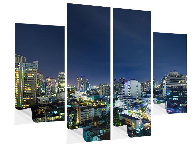 Klebeposter 4-teilig Skyline Nachts in Bangkok