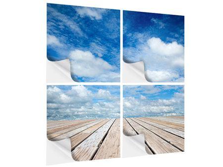 Klebeposter 4-teilig Hoch über den Wolken