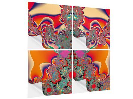 Klebeposter 4-teilig Psychedelische Kunst