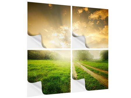 Klebeposter 4-teilig Mystischer Sonnenuntergang