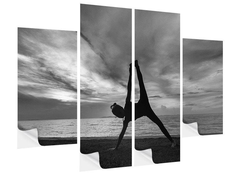 Klebeposter 4-teilig Yoga am Strand