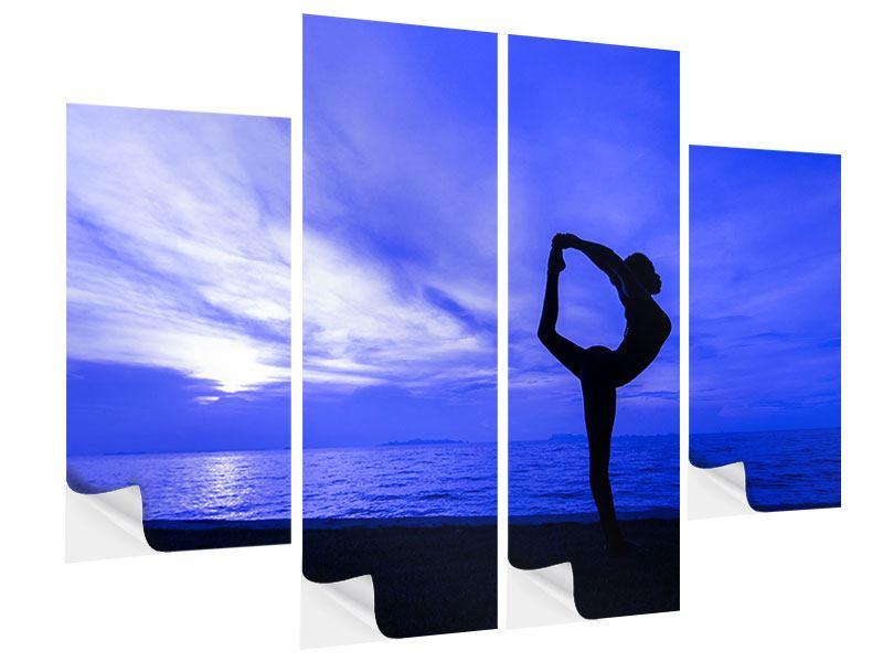 Klebeposter 4-teilig Yogaübung am Strand