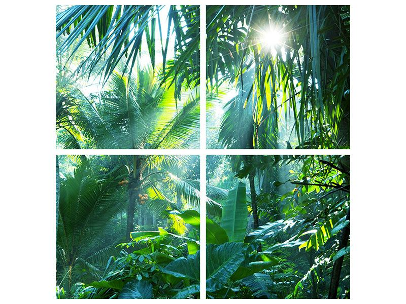 Klebeposter 4-teilig Im Tropenwald