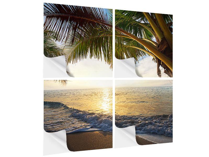 Klebeposter 4-teilig Strandsicht