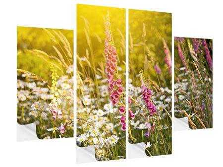 Klebeposter 4-teilig Sommerliche Blumenwiese