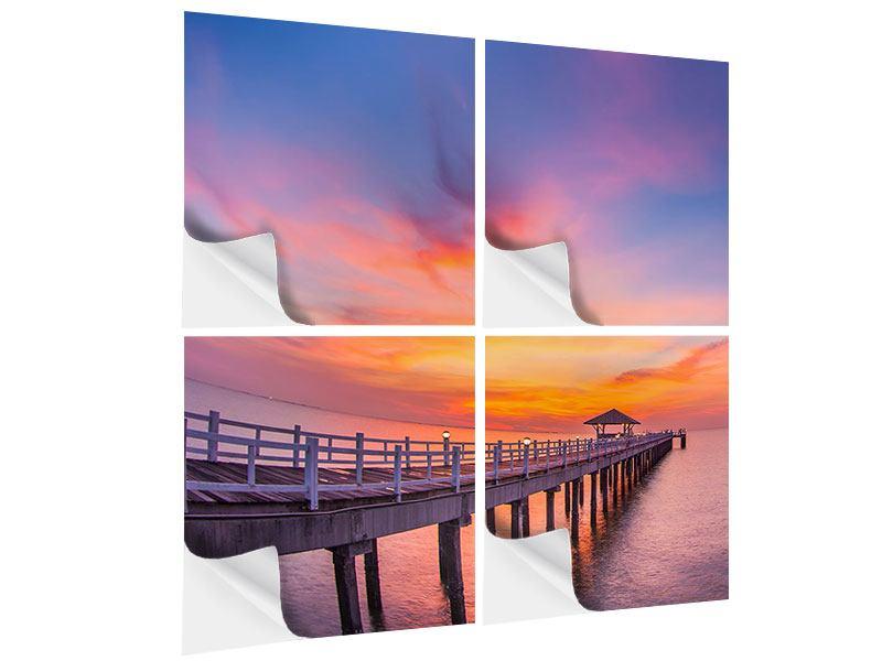 Klebeposter 4-teilig Die romantische Brücke bei Sonnenuntergang