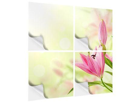 Klebeposter 4-teilig Lilien-Perspektive