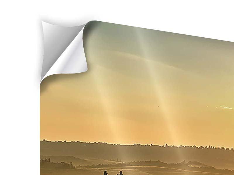 Klebeposter 4-teilig Sonnenuntergang im Gebirge