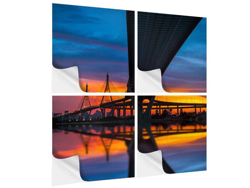 Klebeposter 4-teilig Bhumiboll-Brücke bei Sonnenuntergang