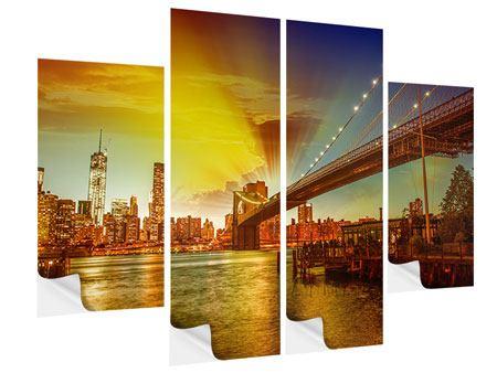 Klebeposter 4-teilig Skyline Brooklyn Bridge NY