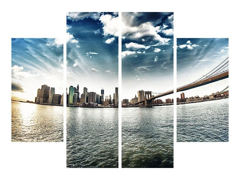 Klebeposter 4-teilig Brooklyn Bridge From The Other Side