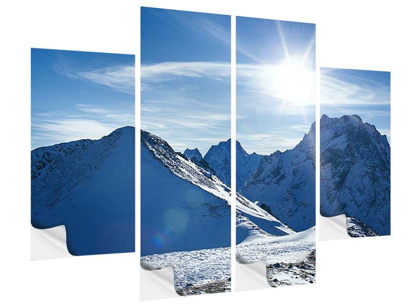 Klebeposter 4-teilig Der Berg im Schnee