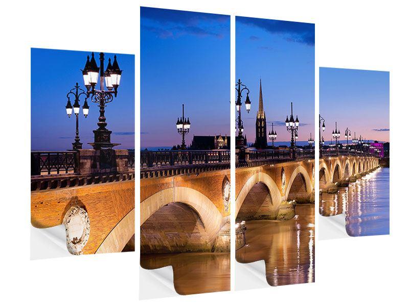 Klebeposter 4-teilig Pont De Pierre bei Sonnenuntergang