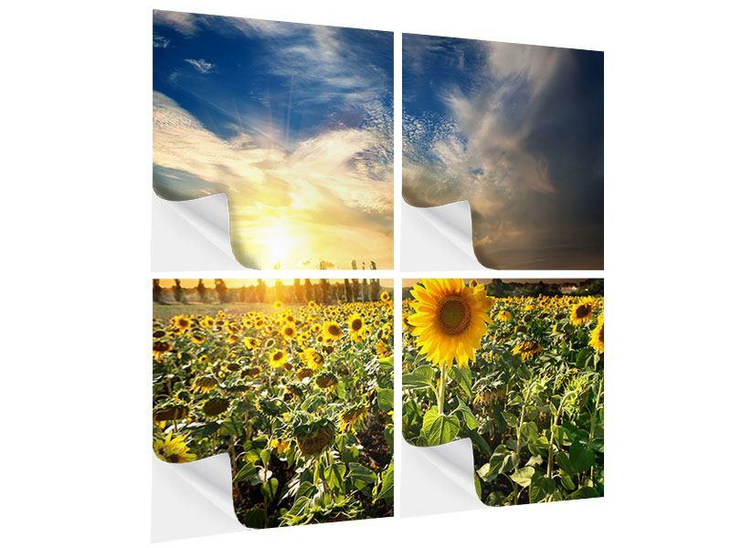Klebeposter 4-teilig Sunny Flowers