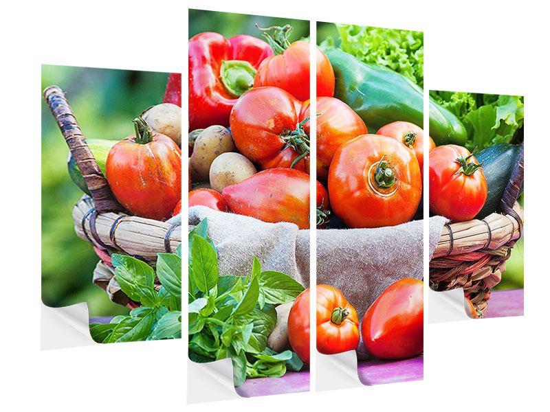 Klebeposter 4-teilig Gemüsekorb