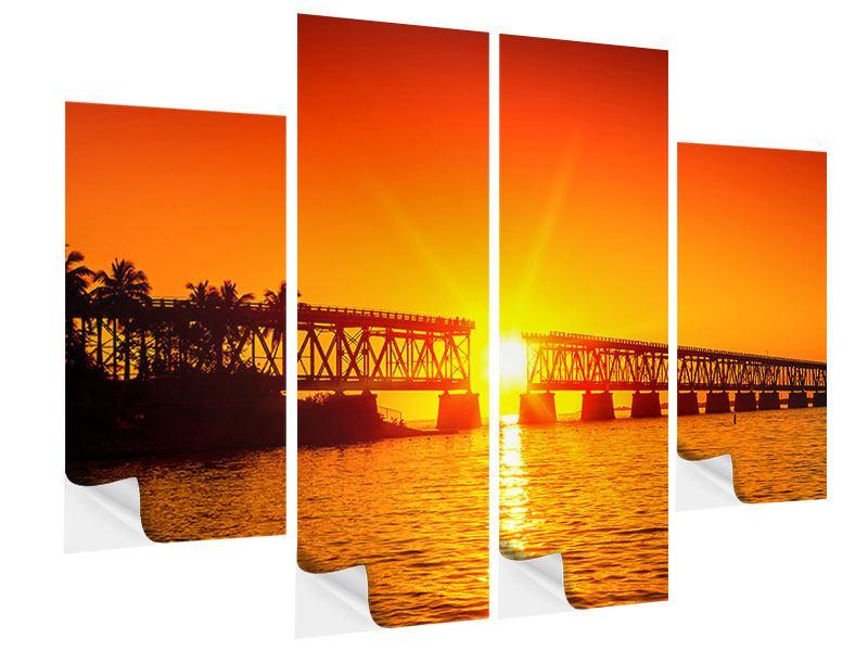 Klebeposter 4-teilig Sonnenuntergang an der Brücke