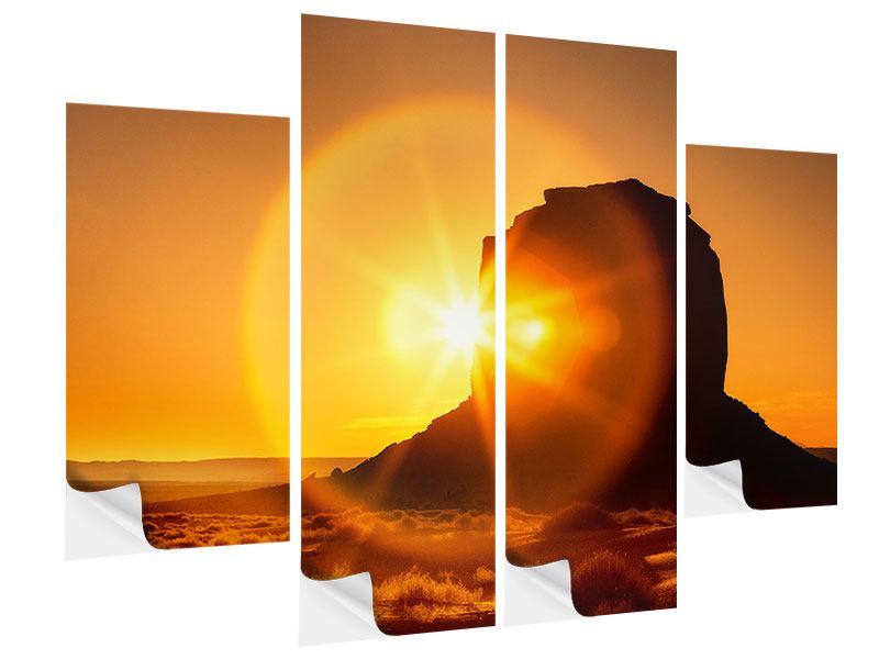 Klebeposter 4-teilig Sonnenuntergang Monument Valley