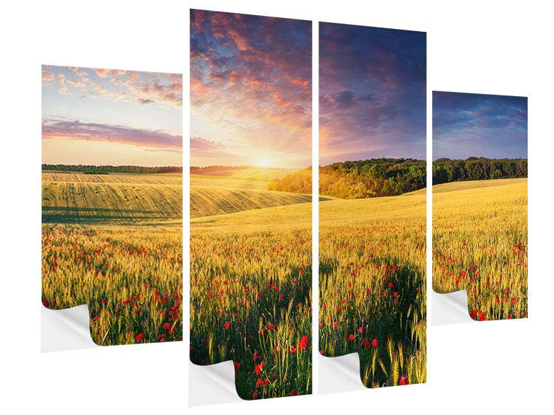 Klebeposter 4-teilig Ein Blumenfeld bei Sonnenaufgang