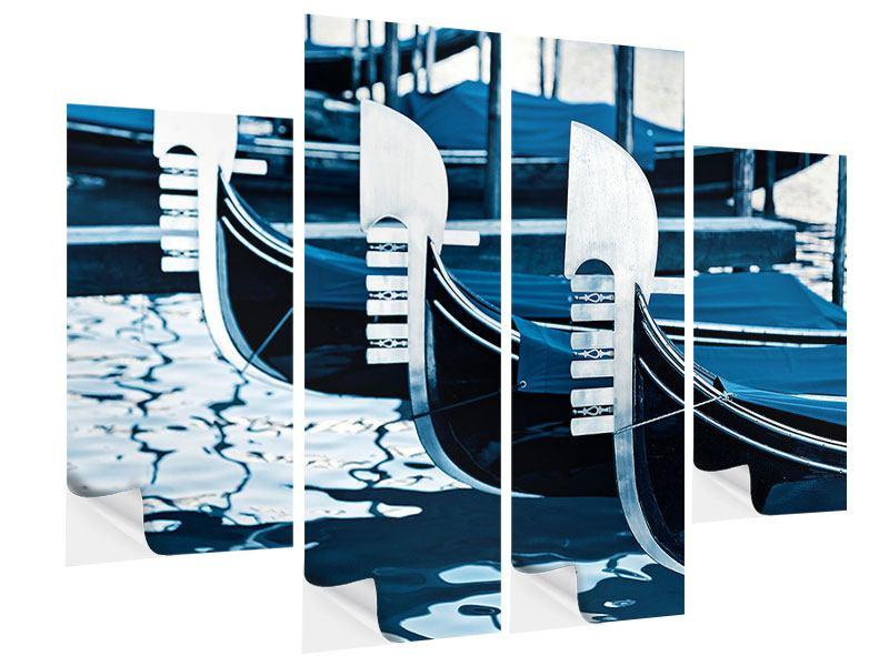 Klebeposter 4-teilig Gondeln in Venedig