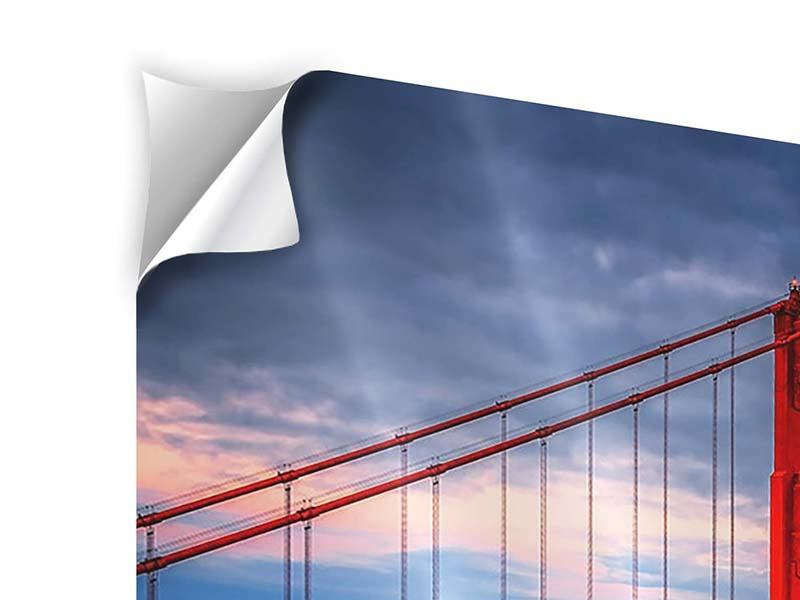 Klebeposter 4-teilig Der Golden Gate Bridge bei Sonnenuntergang