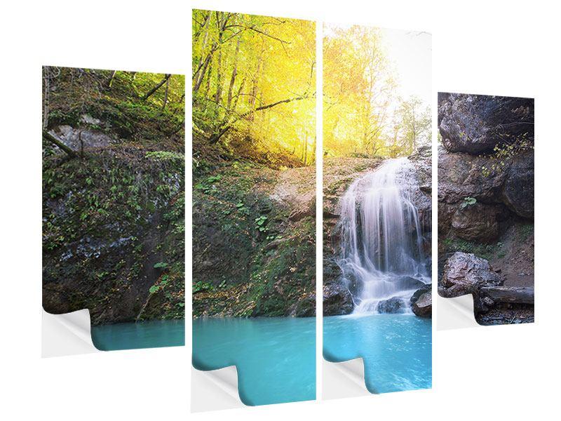 Klebeposter 4-teilig Fliessender Wasserfall