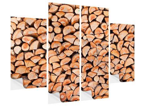 Klebeposter 4-teilig Birkenstapel